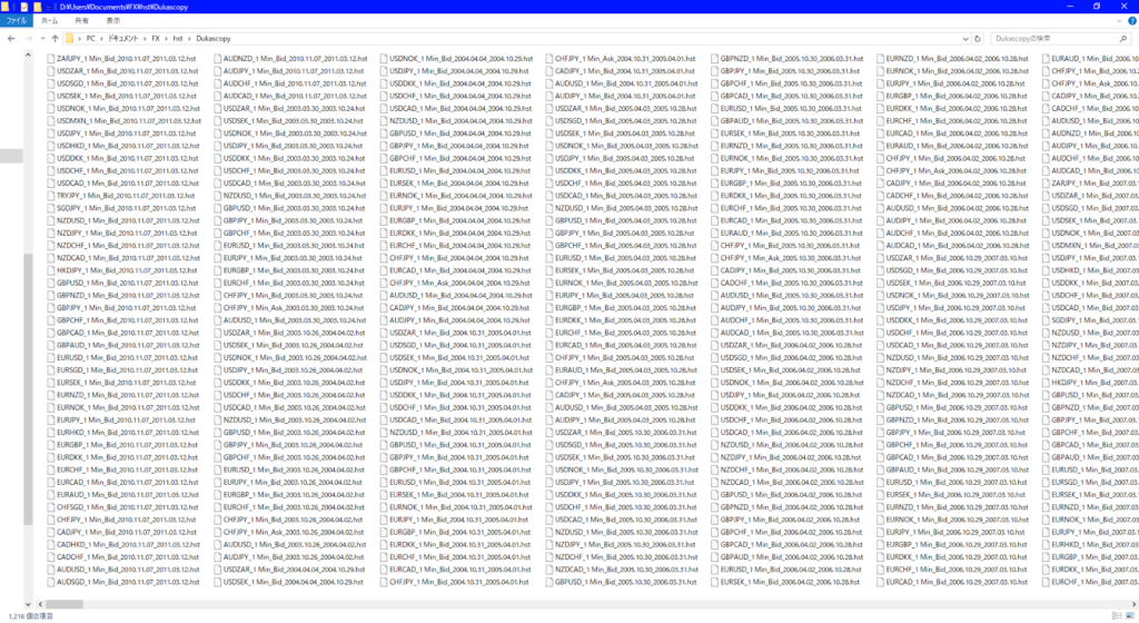 ヒストリカルデータの山。FT2, FT3で使用していたが、FT4からは1通貨ペア1ファイルで済むようになったので不要に……。