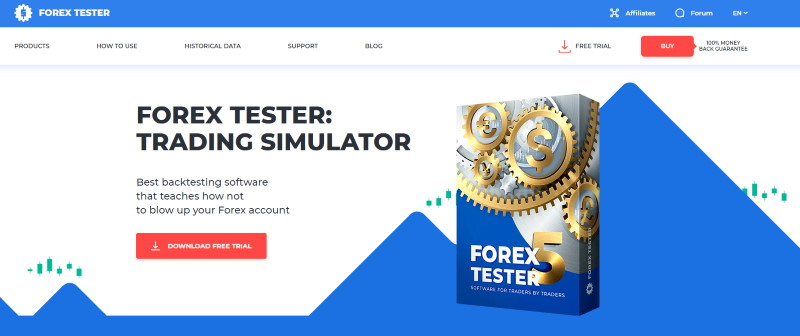 Forex Tester公式サイト(英語版)、表紙がすでにFT5仕様に。