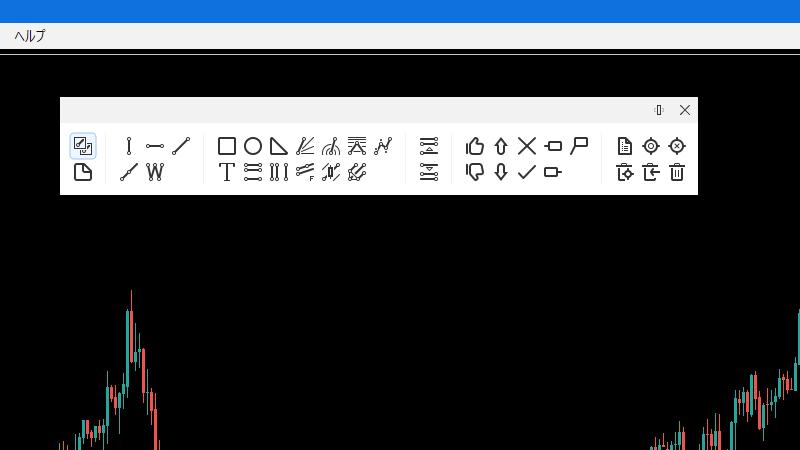グラフィックパネルは本体とは別で独立した状態で表示される。「×」の横のアイコンをクリックすると、縦表示と横表示の変更が可能